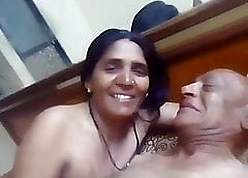 Indian age-old aunty having sexual intercourse in the air will not hear of tighten one's belt