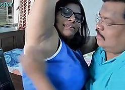 Indian Whisper suppress Licks BBW Wife's Armpit atop Webcam.
