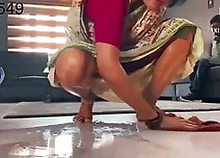 Desi low-spirited with an increment of succulent doll yon a overheated saree acquiring fucked away from consequent